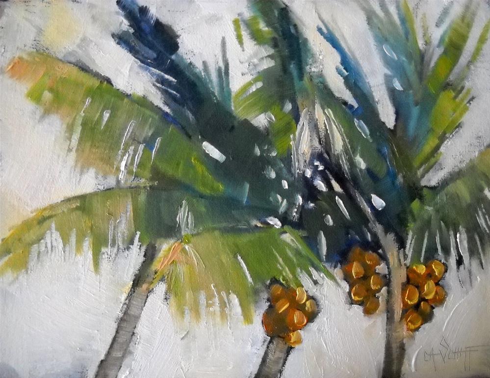 """""""Tropical Landscape Coconut Delight  6x8 Oil"""" original fine art by Carol Schiff"""