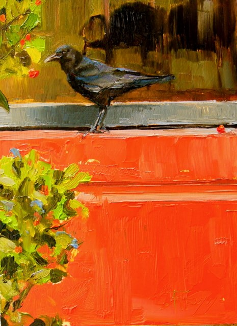 """Window Shopper  oil, crow painting by Robin Weiss"" original fine art by Robin Weiss"