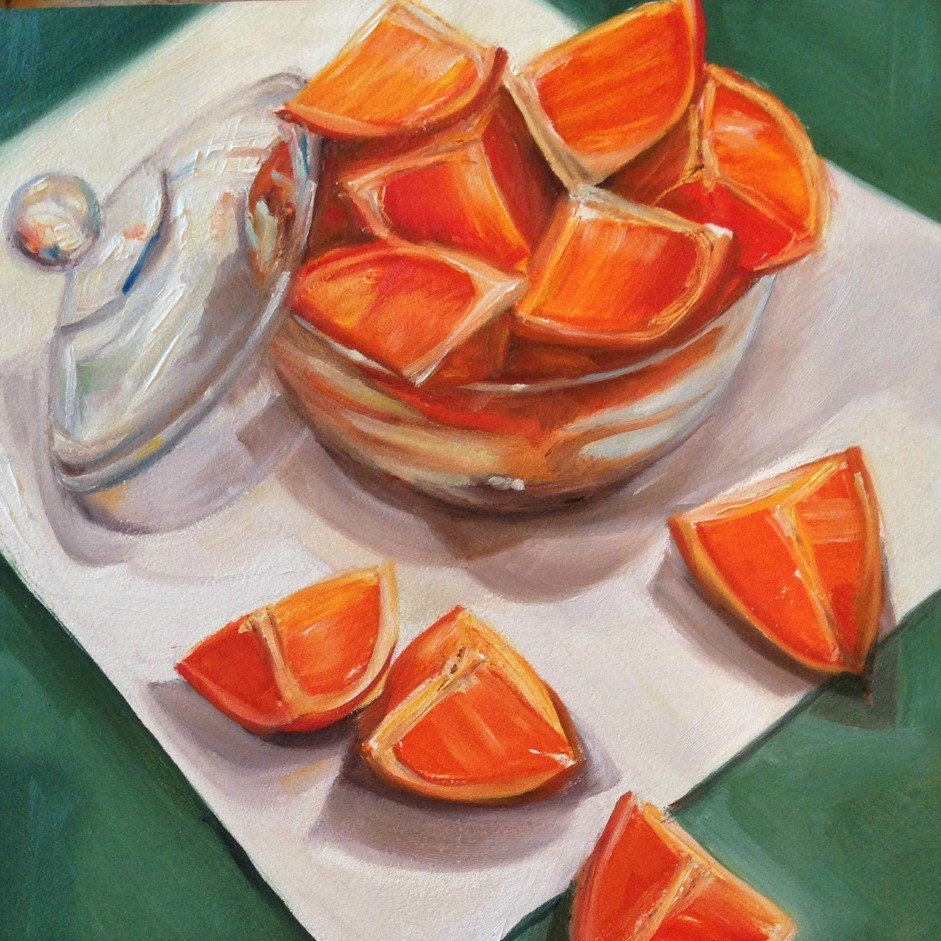 """Oranges Overboard"" original fine art by Beth Moreau"