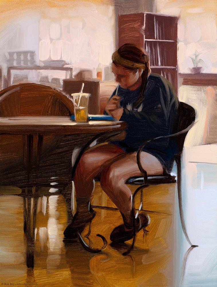"""Cafe Studier"" original fine art by Rob  Rey"