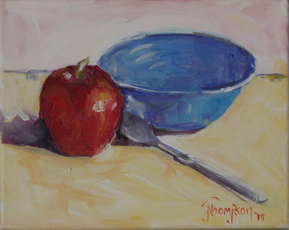 """Bowl and Apple "" original fine art by Norma Thompson"