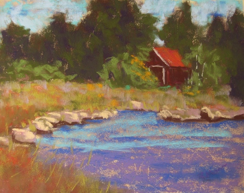 """Bjorkoby boathouse"" original fine art by Ruth Mann"