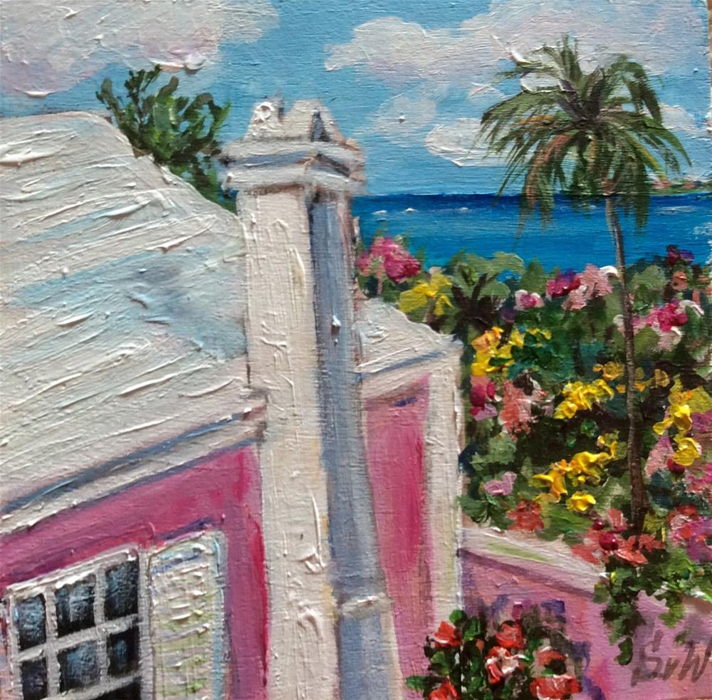 """Bermuda pink cottage painting"" original fine art by Sonia von Walter"