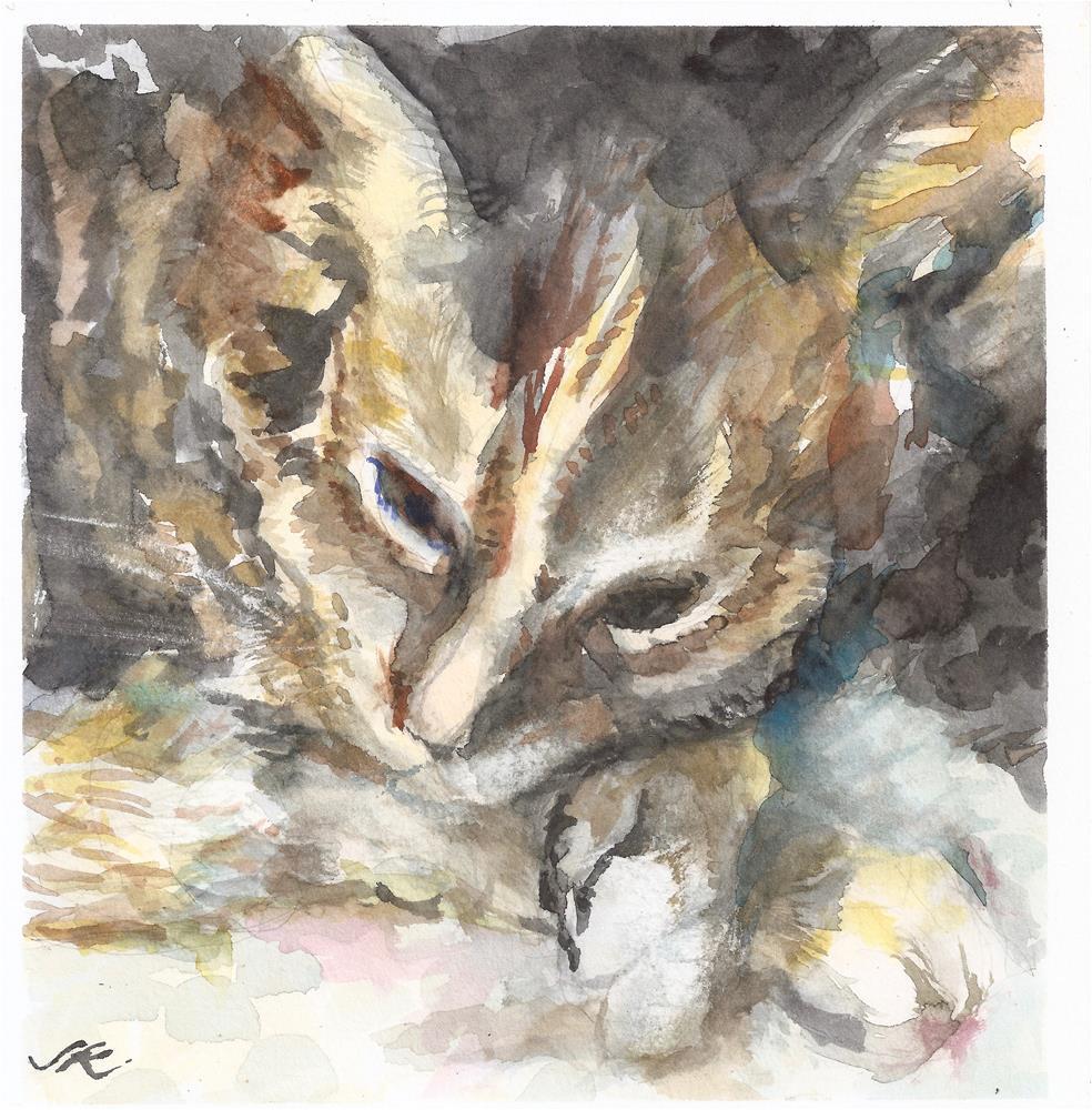 """Cat Nap"" original fine art by Jean Krueger"