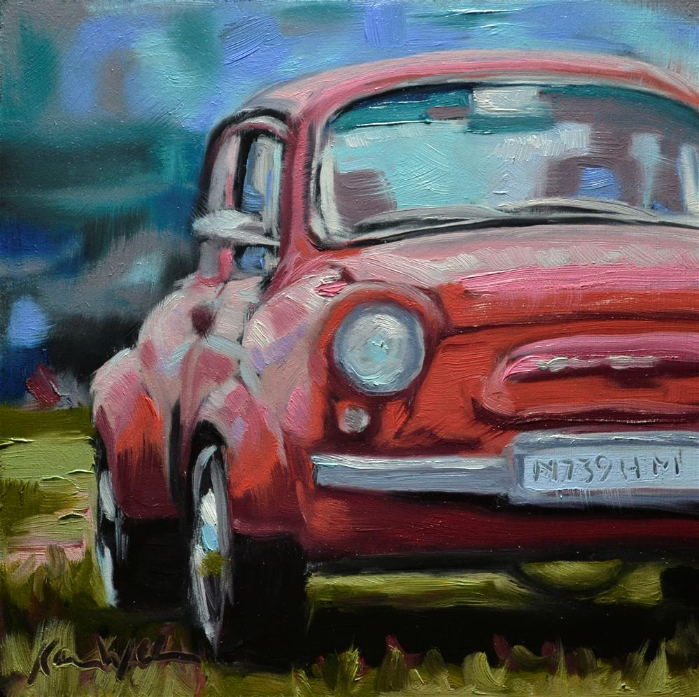 """Little Red Car"" original fine art by Karen Weber"