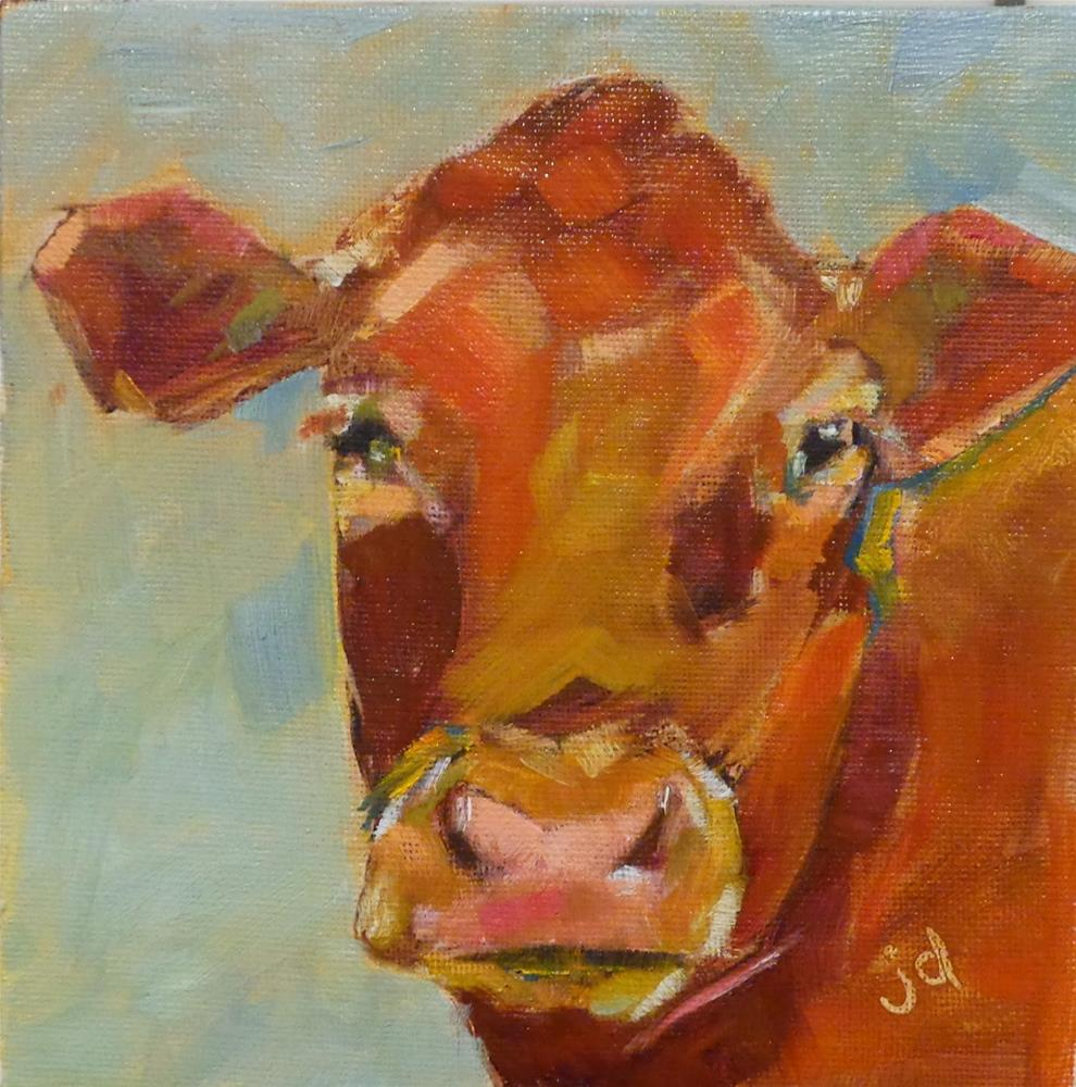 """Cow 19...Rusty vibes"" original fine art by Jean Delaney"