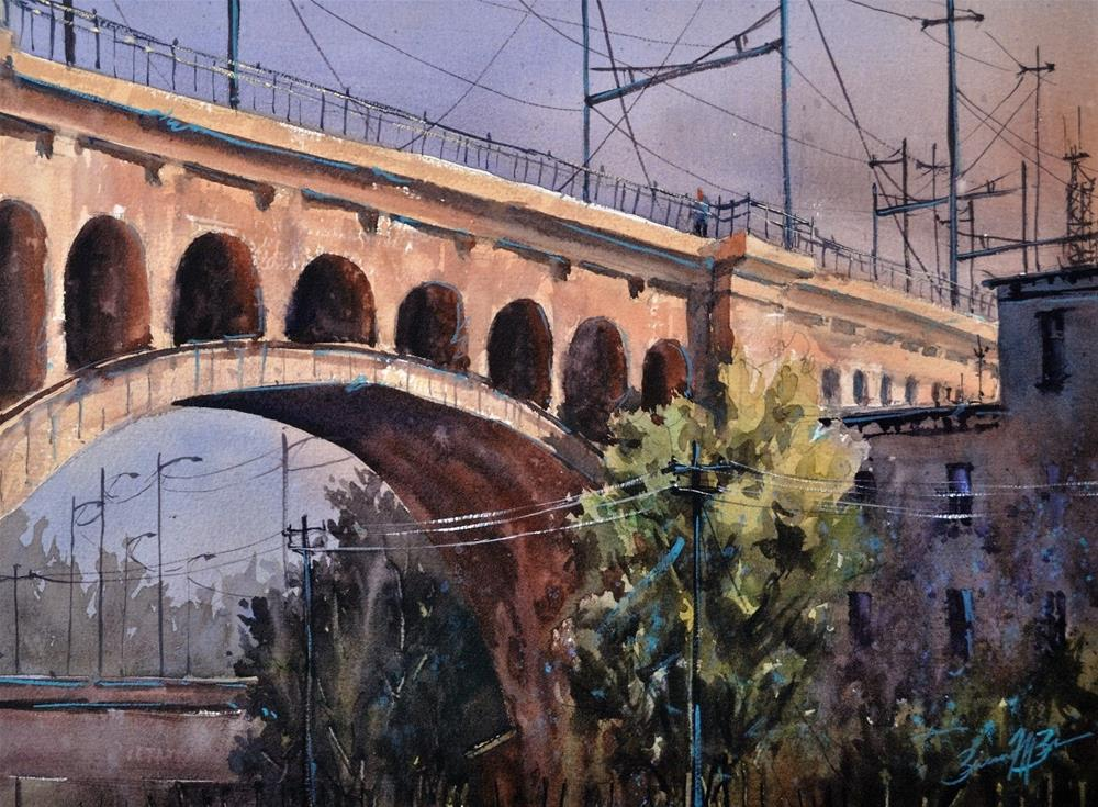 """Manayunk Bridge"" original fine art by Brienne M Brown"