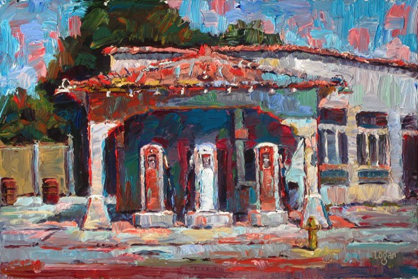 """Old Monrovia Gas Station"" original fine art by Raymond Logan"