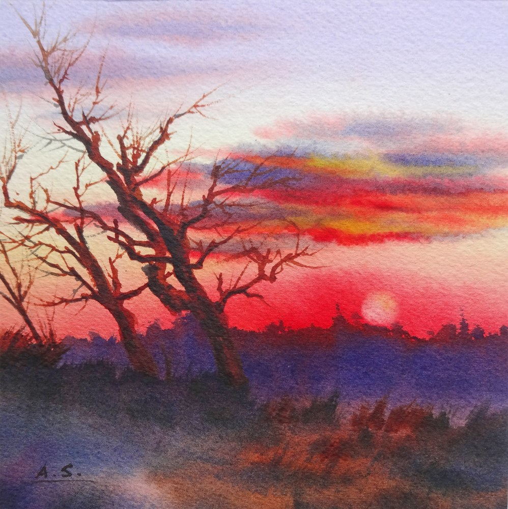 """Windy Hill Sunset"" original fine art by Arena Shawn"