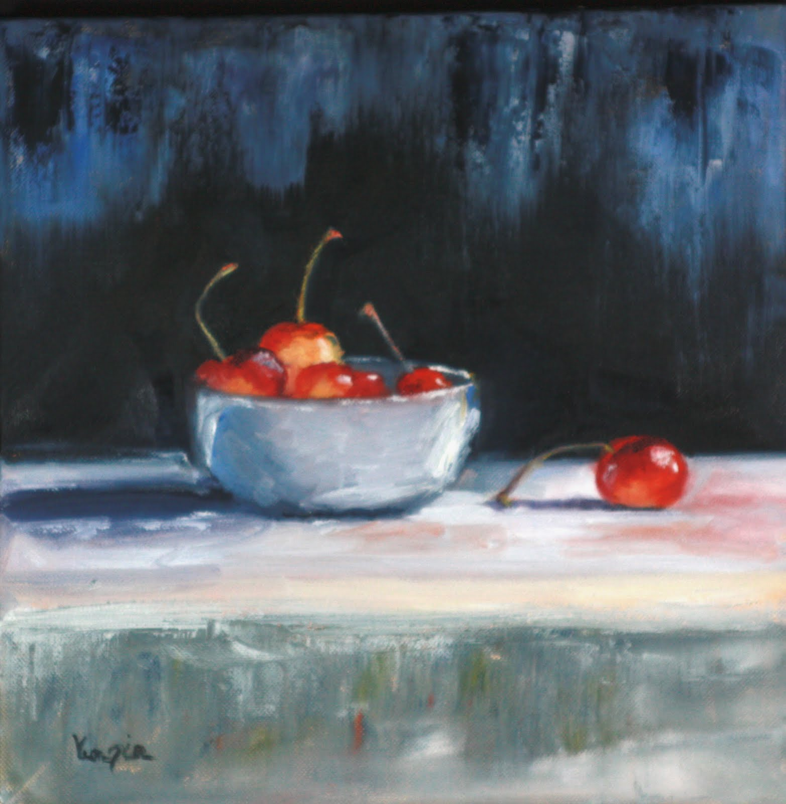 """""""Still Life Painting White Bowl and Cherries"""" original fine art by Carrie Venezia"""