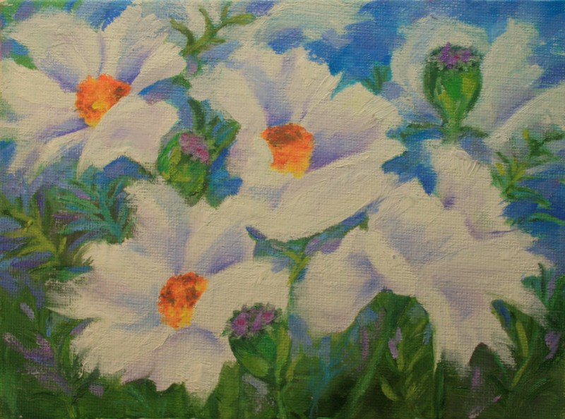 """White Poppies "" original fine art by Jean Nelson"