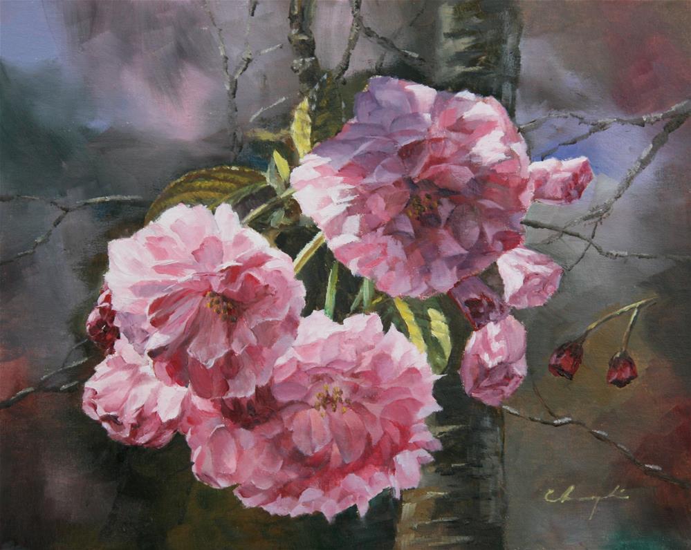 """""""Japanese Cherry Blossom"""" original fine art by Chuang Liu"""