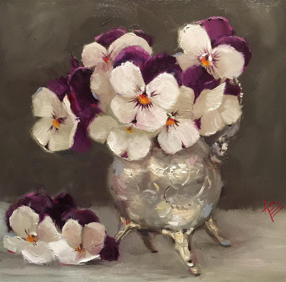 """Pansies in Silver Pot"" original fine art by Krista Eaton"