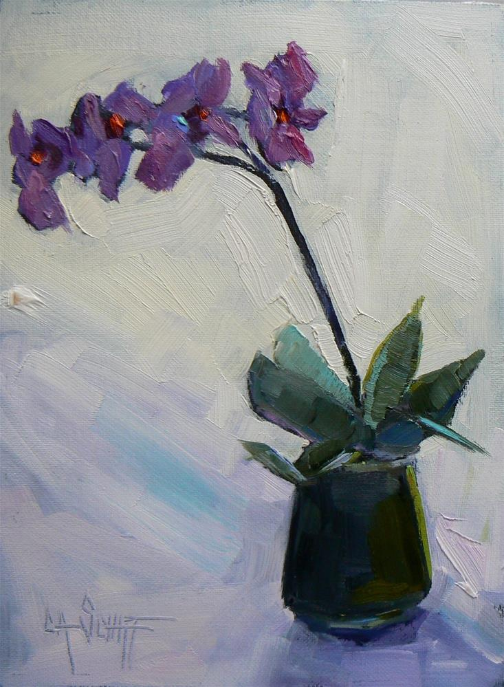 """Daily Painting, Small Oil Painting, Orchid Painting, The Perfect Gift, 6x8 Florial Still Life"" original fine art by Carol Schiff"