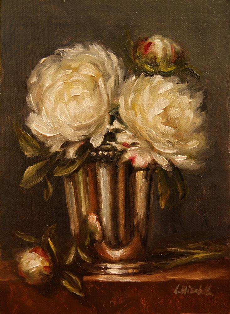 """White Peonies in Mint Julep Cup,  Oil on 5x7 Linen Panel"" original fine art by Carolina Elizabeth"