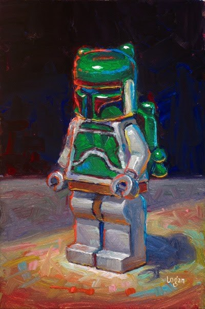 """LEGO Star Wars Boba Fett"" original fine art by Raymond Logan"