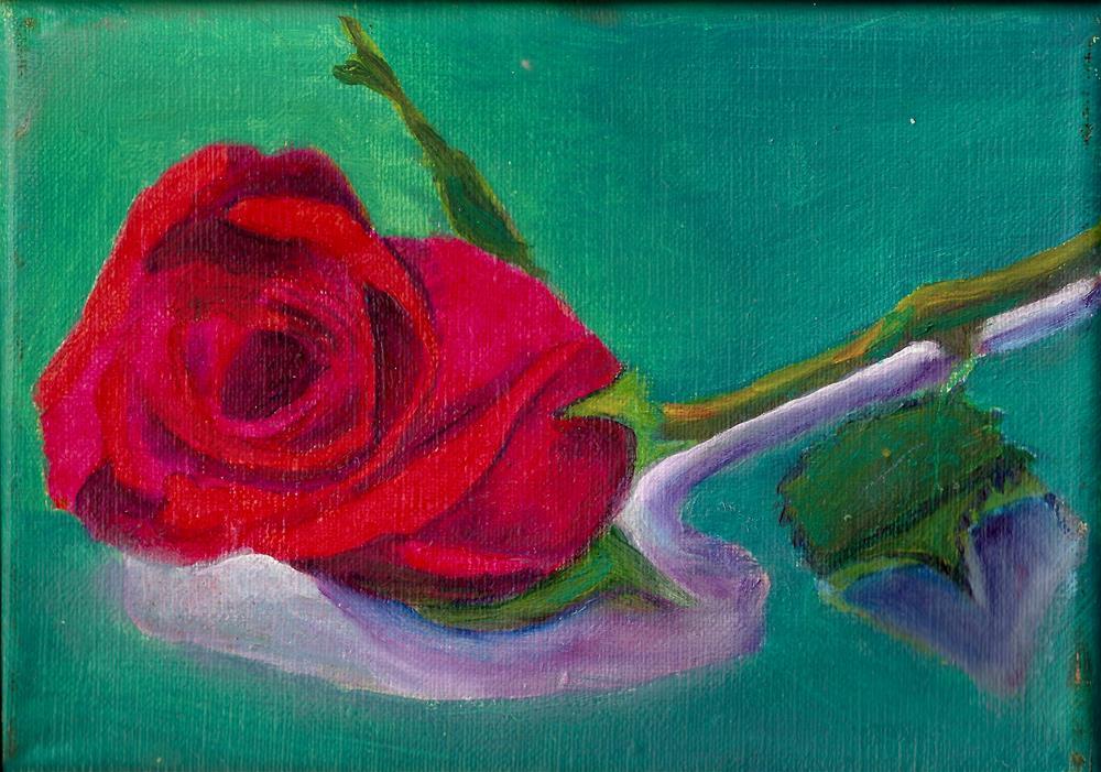"""""""Red Rose"""" original fine art by Elizabeth Current"""