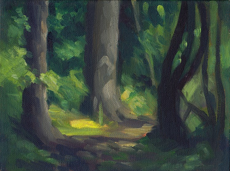 """Quiet Woodland Path Study"" original fine art by J M Needham"