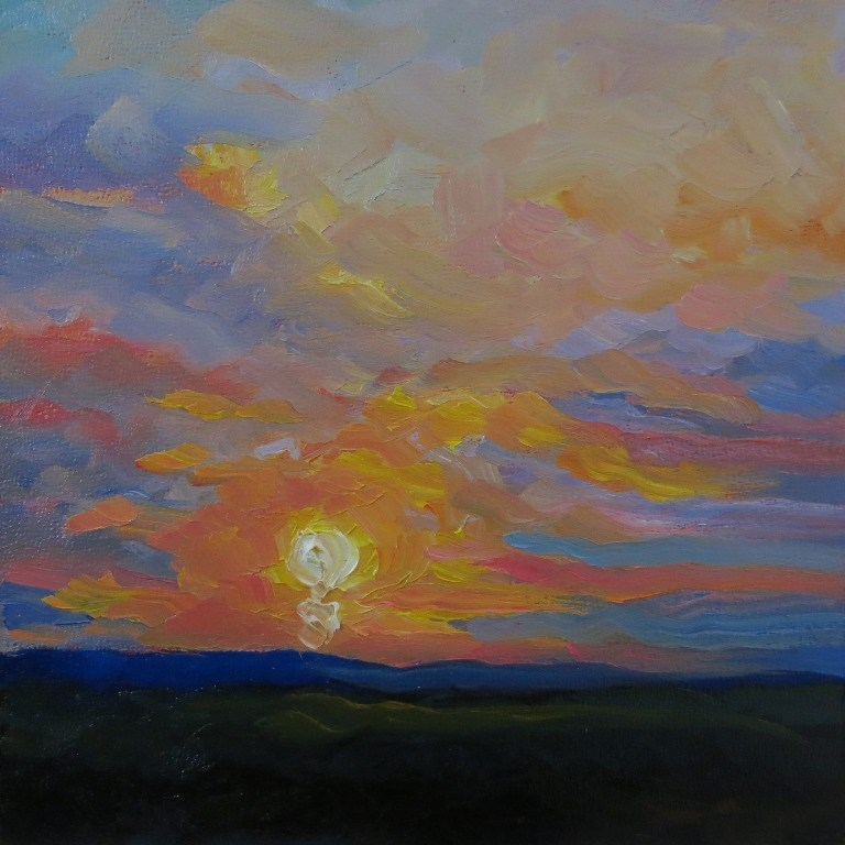 """#68  SUNSET ON THE MESA"" original fine art by Dee Sanchez"