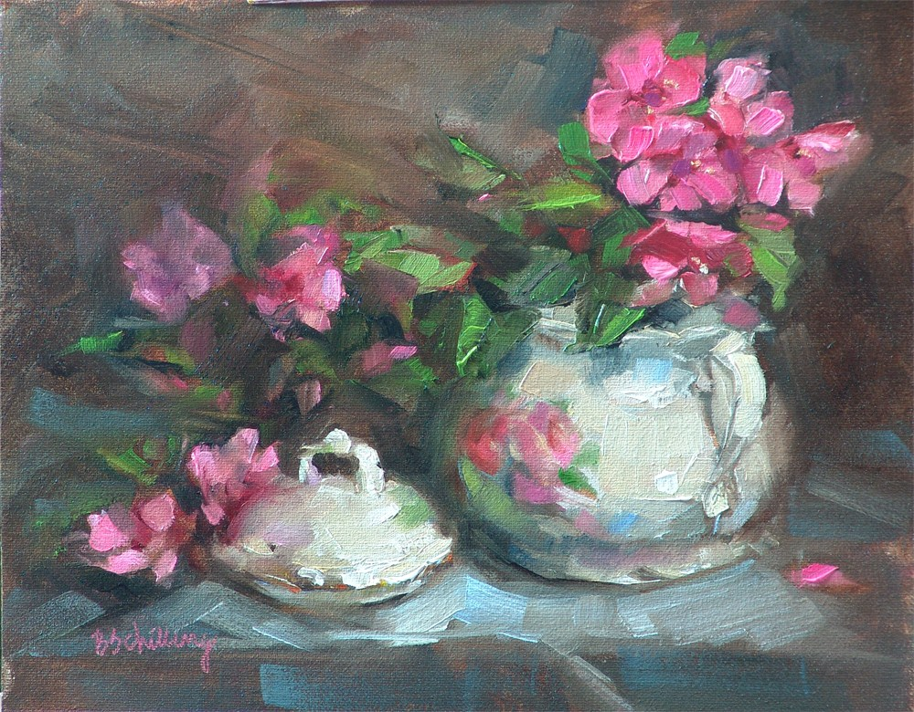"""""""Sugarbowl with Crabapple Blossoms"""" original fine art by Barbara Schilling"""
