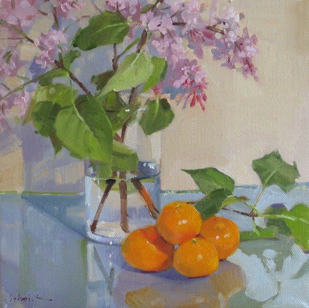 """Pink Lilacs floral flower fruit daily painting oil on canvas"" original fine art by Sarah Sedwick"