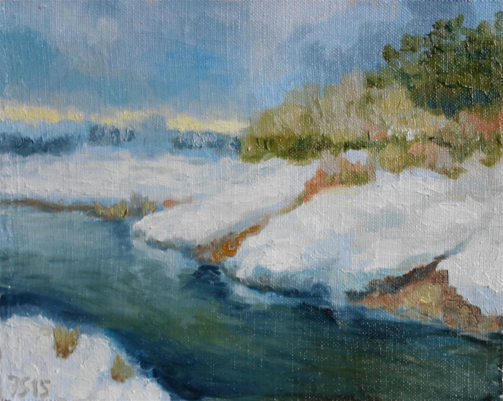 """winter river"" original fine art by Juri Semjonov"