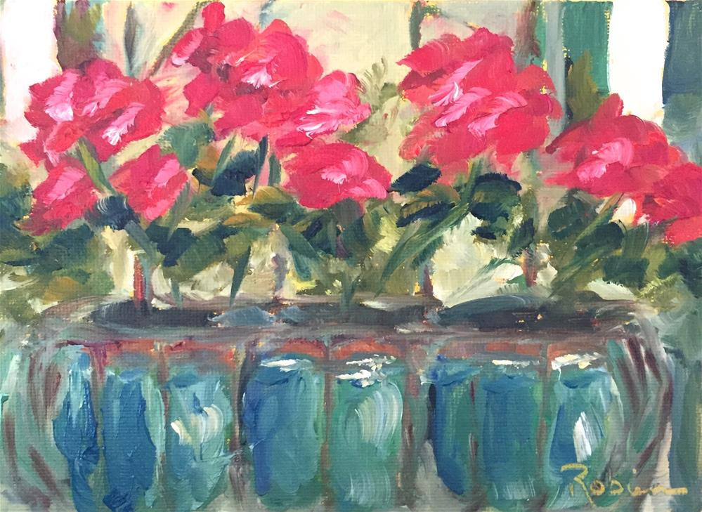 """Geranium Window Box"" original fine art by Renee Robison"