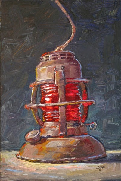 """Old Signal Lantern"" original fine art by Raymond Logan"