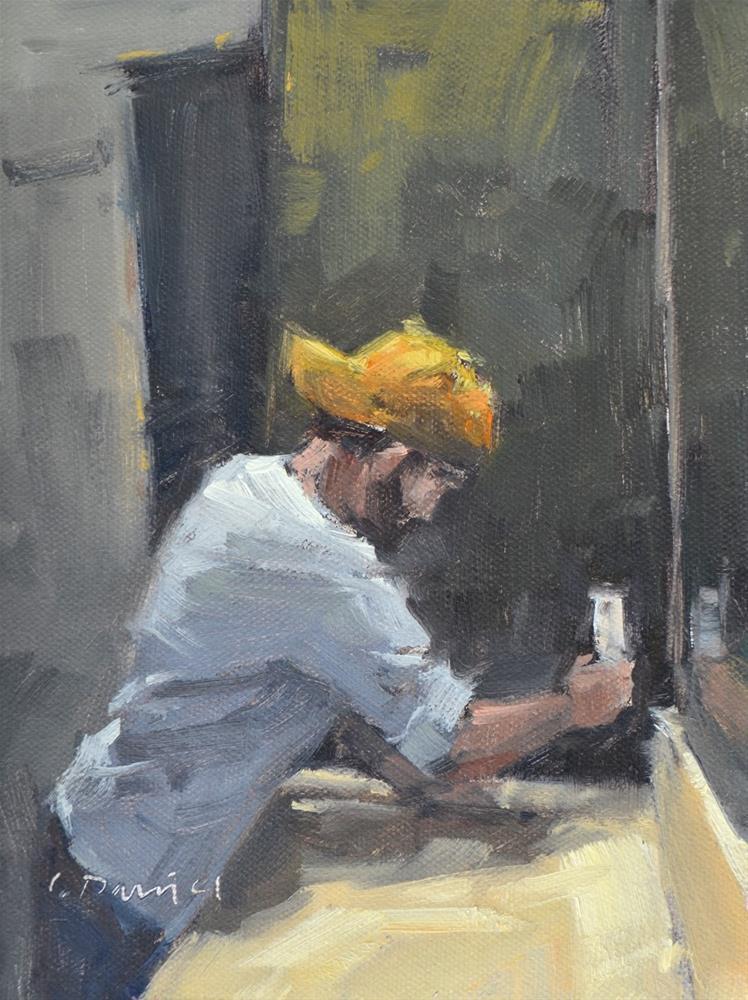 """The Electrician - men at work"" original fine art by Laurel Daniel"