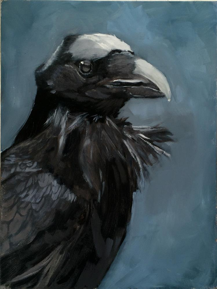 """Moonlit Raven"" original fine art by Leslie Miller"
