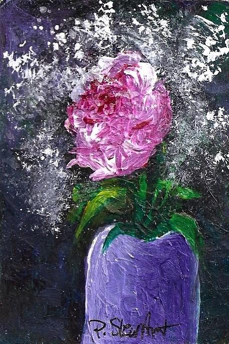 """ACEO Flowers Pink Rose Purple Vase Green Leaves Floral Bouquet SFA Penny StewArt"" original fine art by Penny Lee StewArt"