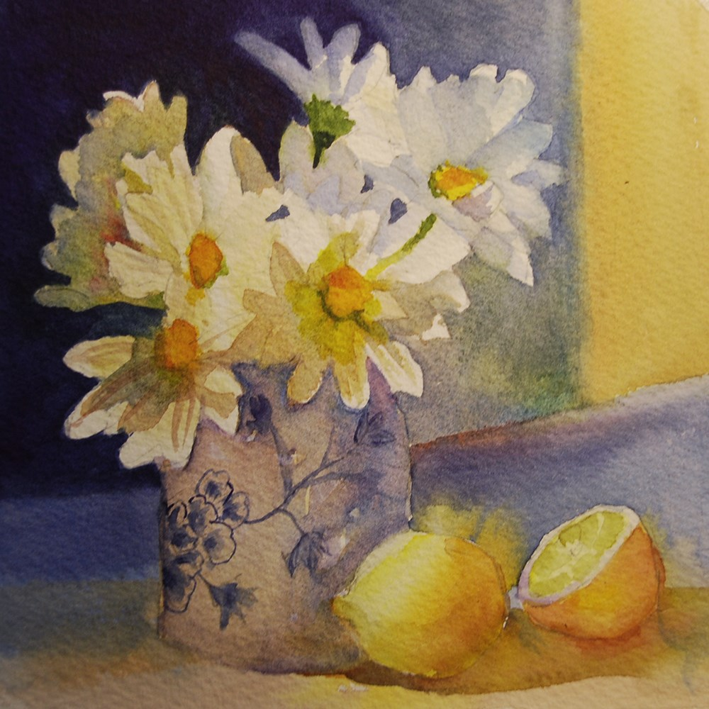 """Daisies and Lemons"" original fine art by Mary Anderson"
