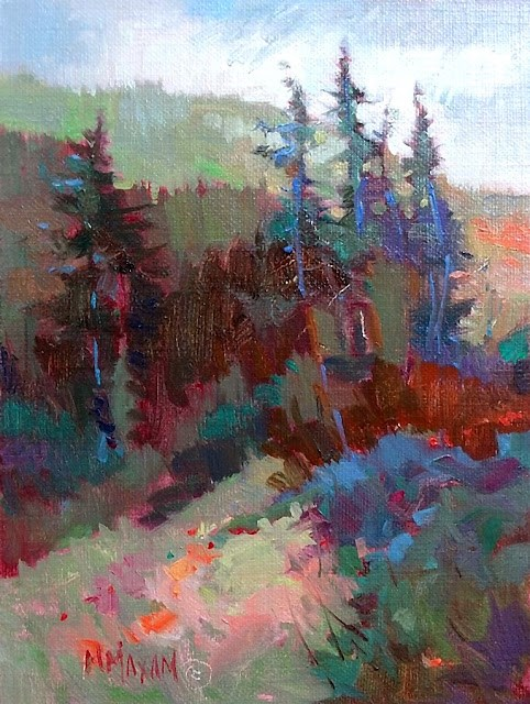 """Treeline Shadows- step- by-step"" original fine art by Mary Maxam"