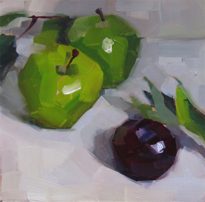 """Plum and Apples"" original fine art by Katia Kyte"
