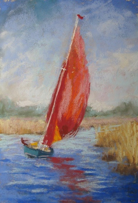 """The Red Sail"" original fine art by Ruth Mann"