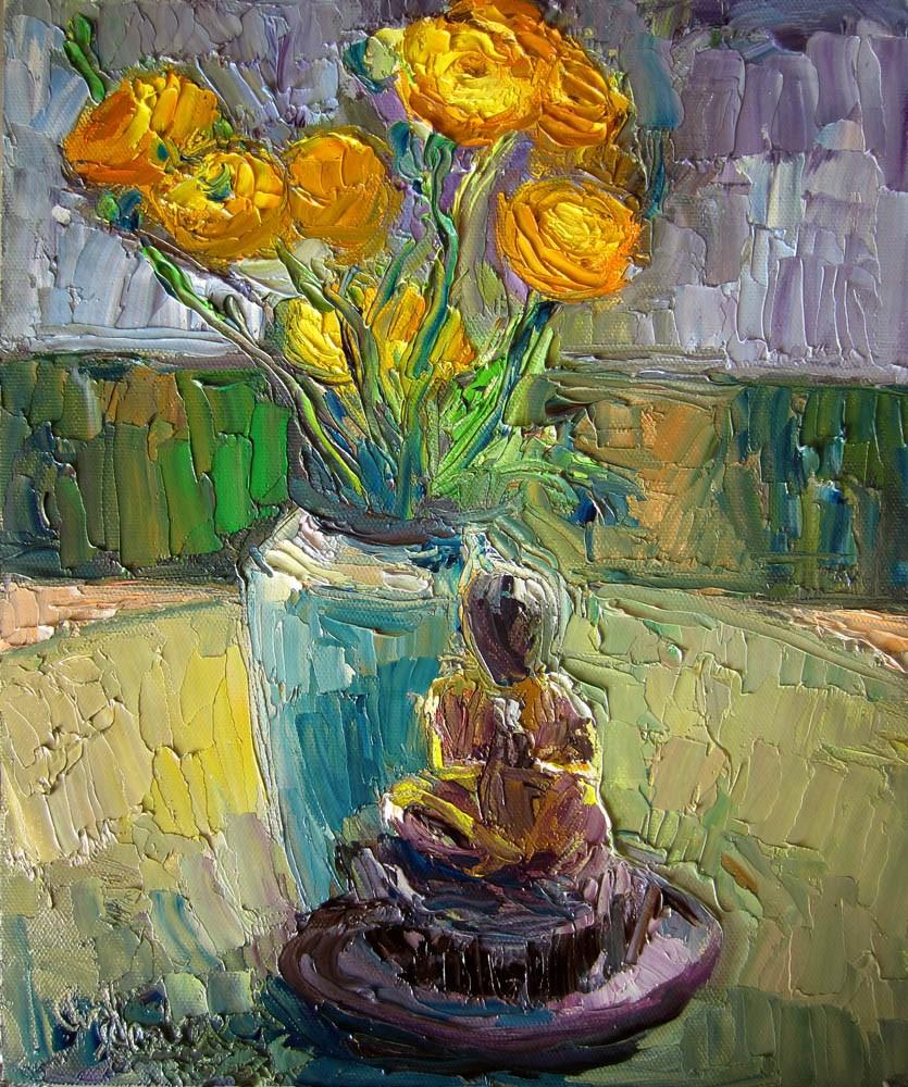 """Meditation, Ranunculi, Gray"" original fine art by Carol Steinberg"