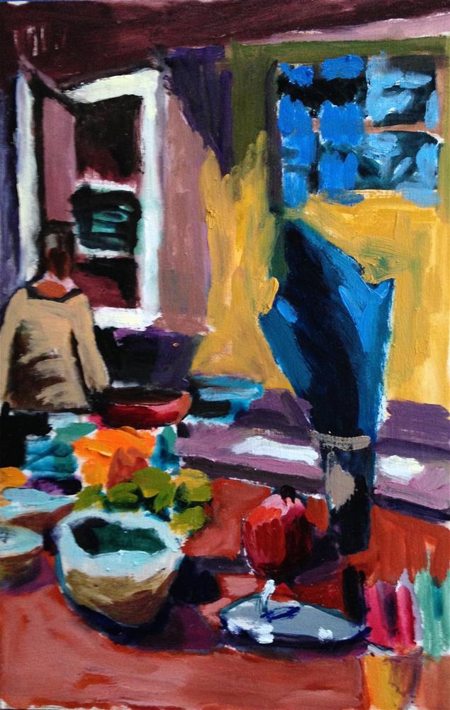 """Sister Making 'Sister Salad'"" original fine art by Pamela Hoffmeister"