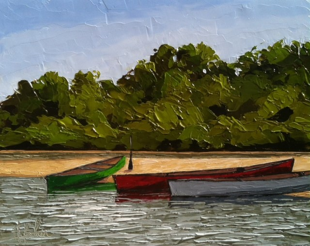 """Canoeing the Wisconsin River"" original fine art by Hallie Kohn"