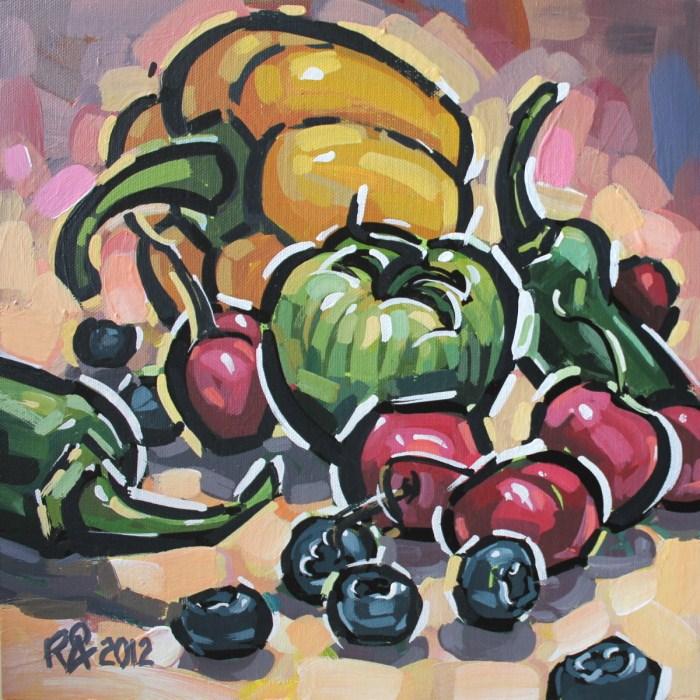 """Healthy snacks 6"" original fine art by Roger Akesson"