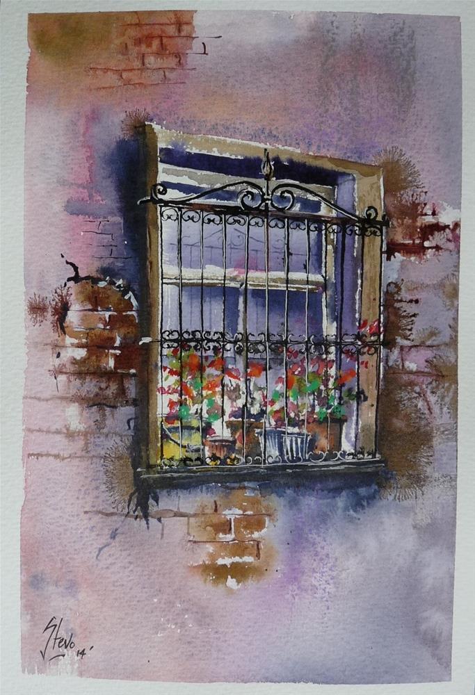 """The Yellow Bucket in an Elegant Window"" original fine art by Martin Stephenson"