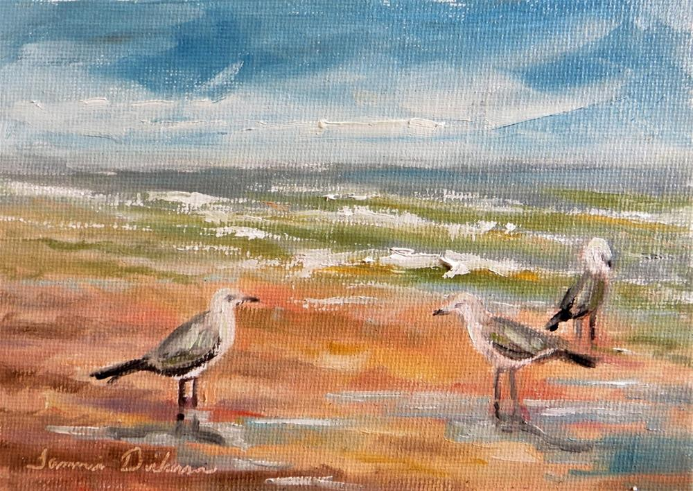 """Gulls on the Beach"" original fine art by Tammie Dickerson"