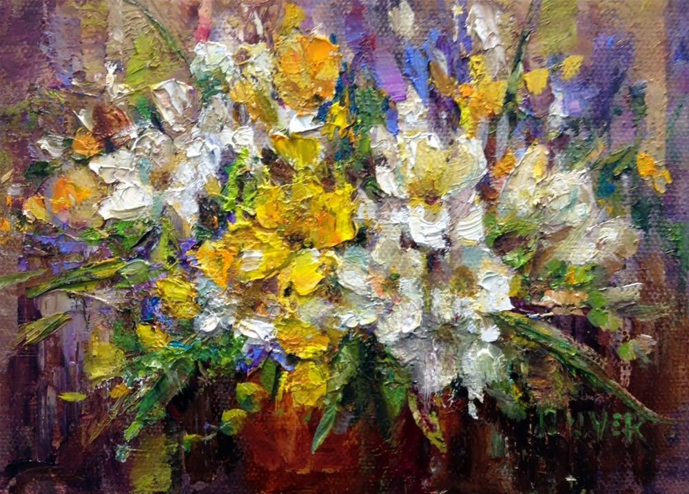 """Freesias and a Neat Product"" original fine art by Julie Ford Oliver"