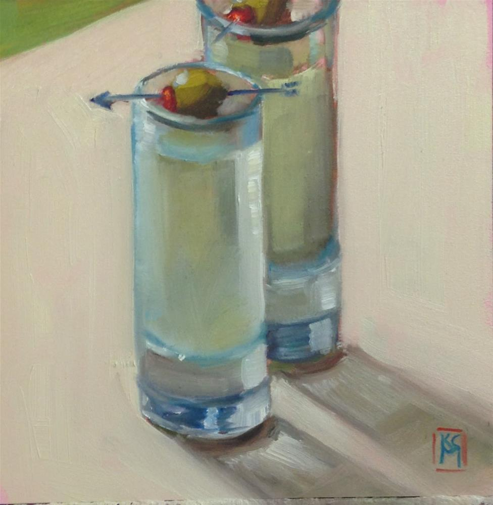 """Two Dirty Martini's, Coming Right Up, 6x6 Inch Oil Painting by Kelley MacDonald"" original fine art by Kelley MacDonald"