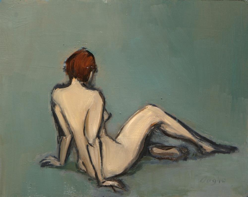 """Woman sitting on floor"" original fine art by Angela Ooghe"