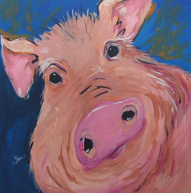 """You're Such a Ham"" original fine art by Terri Einer"