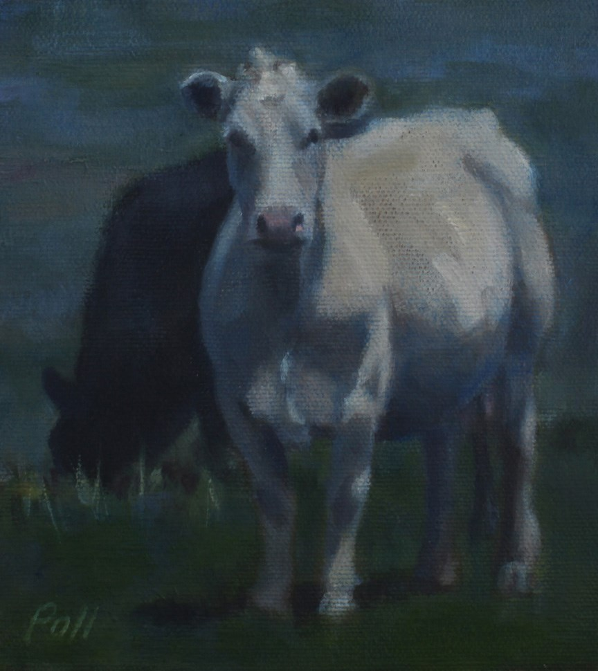 """Milk Cow in Moonlight"" original fine art by Pamela Poll"