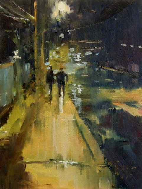 """""""Night Reflections  nocturne, urban oil painting"""" original fine art by Robin Weiss"""