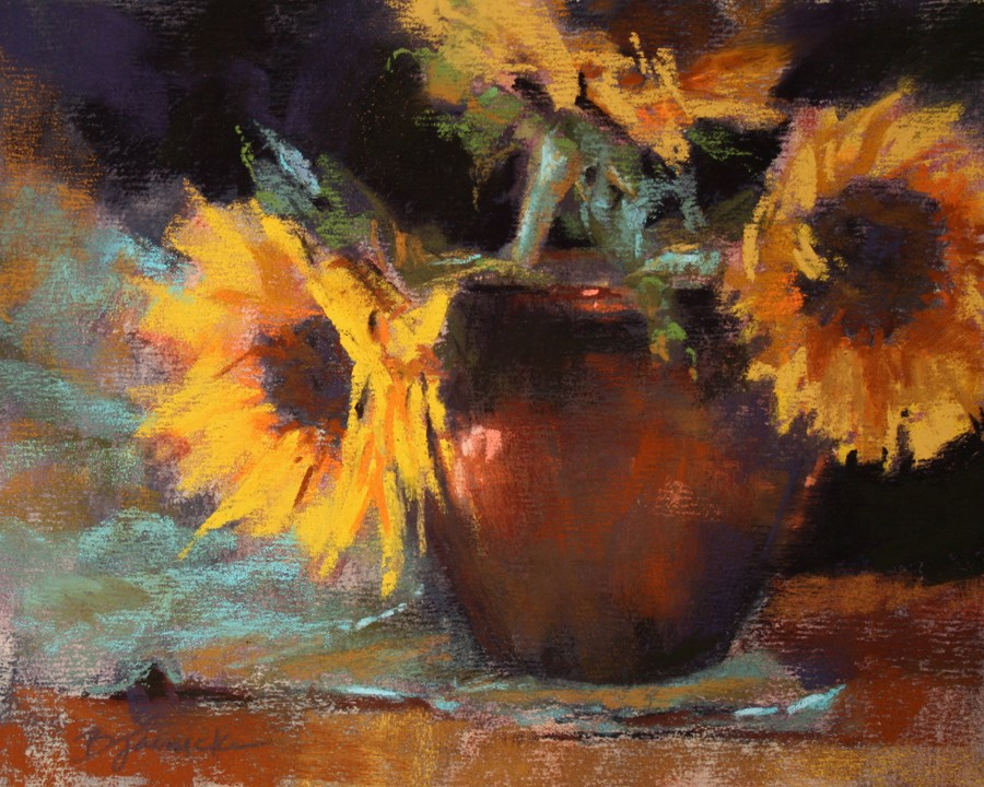 """Sunflower Trio"" original fine art by Barbara Jaenicke"