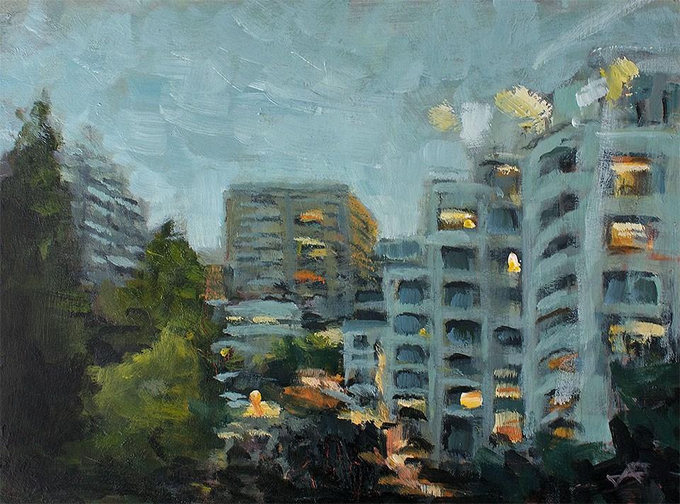 """Tokyo Skyline"" original fine art by J. Farnsworth"