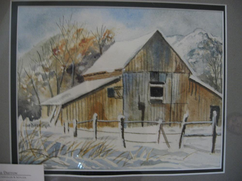 """WINTER  BARN"" original fine art by Lisa Darrow"